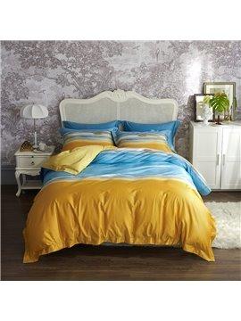 Modern Luxurious 4 PCS Duvet Cover Set Yellow and Blue Cotton Bedding Set 1 Duvet Cover Beach Pattern 1 Flat Sheet 2 Pillowcases Soft Comfortable Durable