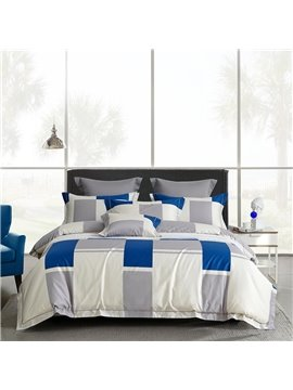 Luxurious 4 PCS Duvet Cover Set White and Blue Cotton Bedding Set 1 Duvet Cover 1 Flat Sheet 2 Pillowcases Soft Comfortable Durable