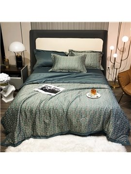 Modern 4 PCS Bedding Set Tencel Summer Comforter Set 1 Air Conditioning Quilt 1 Flat Sheet 2 Pillowcases