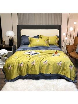 4 PCS Bedding Set Tencel Summer Comforter Set Green Zebra Pattern 1 Air Conditioning Quilt 1 Flat Sheet 2 Pillowcases