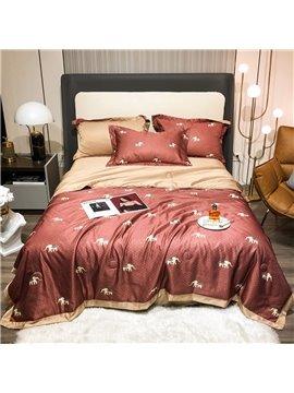 Red 4 PCS Bedding Set Tencel Summer Thin Quilt Set 1 Air Conditioning Quilt 1 Flat Sheet 2 Pillowcases