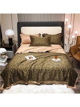 4 PCS Bedding Set Tencel Summer Thin Quilt Set Leopard Pattern 1 Air Conditioning Quilt 1 Flat Sheet 2 Pillowcases