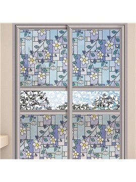 Modern Elegant Window Privacy Film Orchid Pattern Non-Adhesive Static Cling Heat Control Anti UV Non-Adhesiv Window Stickers for Glass Door Home House Ofiice