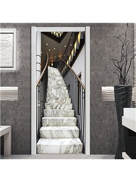 3D Marble Style Door Wall Sticker Murals Simulation Door Art Home Decor