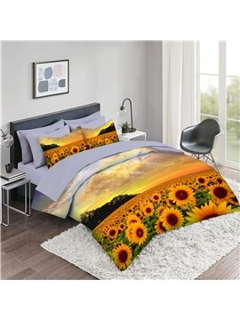 5 Piece 3D Comforter Sets Creative Yellow Sunflower Bedding Sets 2 Pillowcases 1 Flat Sheet 1 Fitted Sheet 1 3D Comforter High-Quality Microfiber Polyester Ultra Soft Bed in a Bag