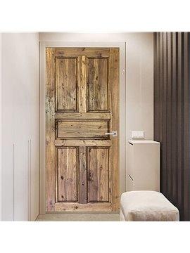 3D Simulation Wood Door Murals Wall Sticker Self Adhesive Door Art Stickers Scenery Home Decor