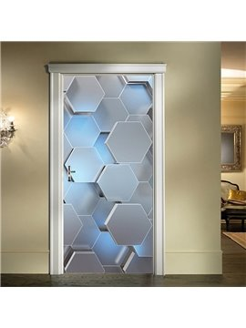 3D Geometric Door Wall Stickers Mural Art Decals Removable Self-adhesive Vinyl Home Decor