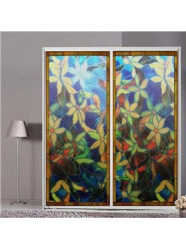 Classic Retro Style Window Privacy Film Colored Floral Non-Adhesive Static Cling Heat Control Anti UV Non-Adhesiv Window Stickers for Glass Door Home House Ofiice