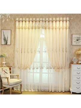 European Embroidered Curtain Sets Sheer and Lining Blackout Curtains Yellow and Coffee Color for Living Room Bedroom Decoration No Pilling No Fading No off-lining