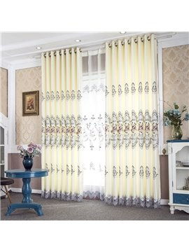 European Beige Floral Shading Curtains Embroidery Hollow Curtains for Living Room Bedroom Decoration Custom 2 Panels Drapes No Pilling No Fading No off-lining Polyester