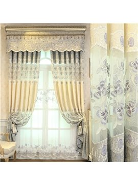 European Elegant Floral Shading Curtains Luxurious Embroidery Hollow Curtains for Living Room Bedroom Decoration Custom 2 Panels Drapes No Pilling No Fading No off-lining Chenille