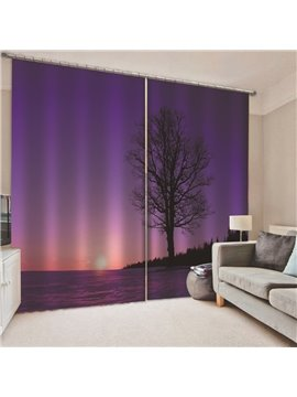 3D Printed Modern Purple Tree Landscape Blackout Scenery Curtains Custom 2 Panels Drapes for Living Room Bedroom No Pilling No Fading No off-lining Polyester