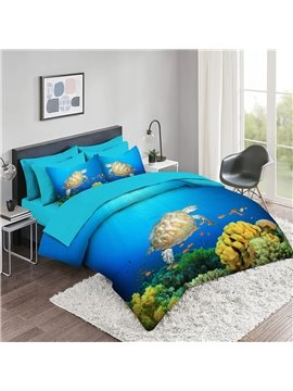 5 Piece Sea Turtles 3D Comforter Sets Creative Bedding Sets 2 Pillowcases 1 Flat Sheet 1 Fitted Sheet 1 3D Comforter High-Quality Microfiber Polyester Ultra Soft Bed in a Bag