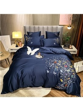 Blue High-end 4 PCS Duvet Cover Set Butterfly Royal Embroidery Luxury Bedding Set 1 Duvet Cover 1 Flat Sheet 2 Pillowcases Soft Comfortable Durable