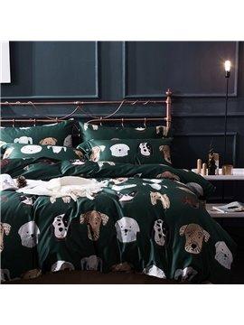 Modern Green 4 PCS Luxurious Duvet Cover Set Animal High-Quality Nylon Cotton Bedding Set 1 Duvet Cover 1 Flat Sheet 2 Pillowcases Soft Comfortable Durable