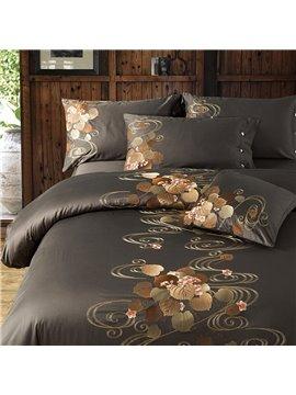 Modern Luxurious Embroidery 4 PCS Duvet Cover Set High-Quality Nylon Cotton Bedding Set 1 Duvet Cover 1 Flat Sheet 2 Pillowcases Soft Comfortable Durable
