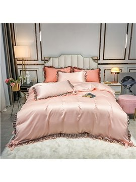 4-Piece Set Pink Soft Silky Bedding Sets  Set 2 Pillowcases 1 Flat Sheet 1 Duvet Cover Twin Full Queen King