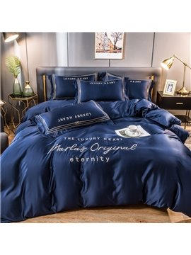 Letters Embroidery Royal Blue Soft Silky Bedding Sets 4-Piece Set 2 Pillowcases 1 Flat Sheet 1 Duvet Cover