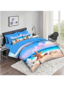 3D Comforter Sets 5 PCS Creative Starfish Landscape Bedding Sets 2 Pillowcases 1 Flat Sheet 1 Fitted Sheet 1 3D Comforter High-Quality Microfiber Polyester Ultra Soft Bed in a Bag