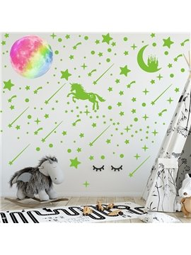 296pcs Glow In The Dark Luminous Unicorn Moon Wall Stickers Space Kid Ceiling Decal Bedroom Decor