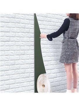 2.2x32ft/Roll 3D Tile Brick Wall Sticker Self-adhesive Waterproof Foam Panel Wallpaper