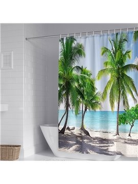 3D Printed Seaside Landscape Shower Curtain Palm Costal and Sea Bathroom Partition Curtain Durable Waterproof Mildew Proof Polyester