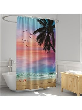 3D Printed Coast Sunset Palm Landscape Shower Curtain Bathroom Partition Curtain Durable Waterproof Mildew Proof Polyester