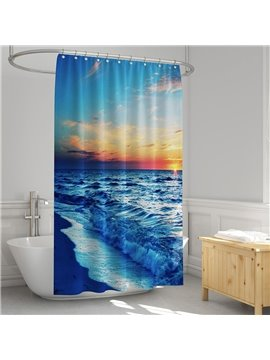 Coast Sunset 3D Printed Seaside Landscape Shower Curtain Bathroom Partition Curtain Durable Waterproof Mildew Proof Polyester