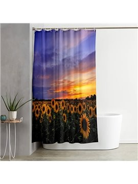 3D Printed Landscape Shower Curtain Sunflowers and Beautiful Sunset Bathroom Partition Curtain Durable Waterproof Mildew Proof Polyester
