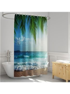 3D Printed Costal Palm Landscape Shower Curtain Bathroom Partition Curtain Durable Waterproof Mildew Proof Polyester 5 Size