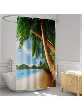 3D Printed Palm Costal Landscape Shower Curtain Bathroom Partition Curtain Durable Waterproof Mildew Proof Polyester 5 Size