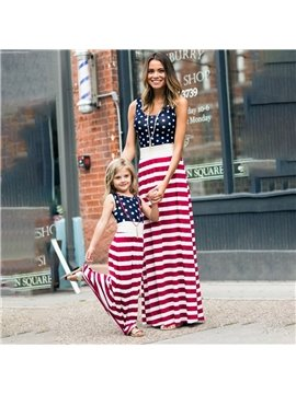 Mommy&Me Summer Family Matching Clothing Short Sleeve Stripe Casual Parent-Child A-line Dress