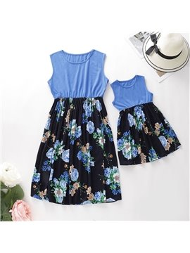 Blue Casual Mommy And Daughter Dress Summer Floral Dress Family Clothing Sleeveless Mother Me Parent-Child Outfits