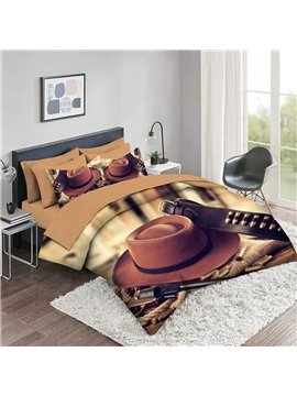 Creative 3D Comforter Sets 5 PCS Bedding Sets Cowboy Series 2 Pillowcases 1 Flat Sheet 1 Fitted Sheet 1 3D Comforter High-Quality Microfiber Polyester Ultra Soft Bed in a Bag