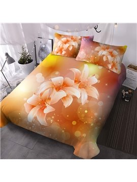 Creative 3D Floral Printed Lily 3 PCS Comforter Sets Bedding Ultra-soft Microfiber No-fading Twin Full Queen King 1 Comforter 2 Pillowcases Polyester