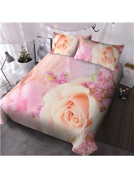 Creative 3D Floral Printed Romantic Rose 3 PCS Comforter Sets Bedding Ultra-soft Microfiber No-fading Twin Full Queen King 1 Comforter 2 Pillowcases Polyester
