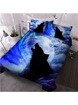 Creative 3D Printed Wolf in Galaxy Blue 3 Piece Comforter Sets Bedding Ultra-soft Microfiber No-fading Twin Full Queen King 1 Comforter 2 Pillowcases Polyester