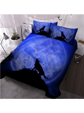 3 Piece Comforter Sets Creative 3D Printed Wolf in Galaxy Bedding Ultra-soft Microfiber No-fading Twin Full Queen King 1 Comforter 2 Pillowcases Polyester