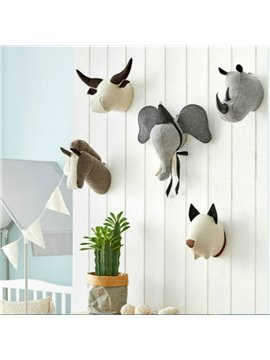 3D Stereo Wall Decoration Cute Animal Head Decoration Wall Hook for Girls Boys Bedroom Living Room Study Room