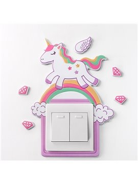 Self-adhesive Wall Sticker Creative Cartoon Animal Wall Paste Soft Glue Light 3D Tridimensional Switch Paste Socket Protective Cover Decoration