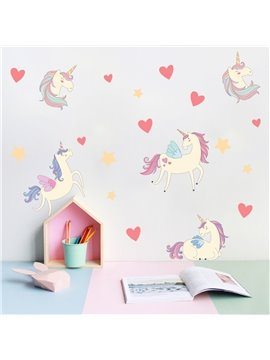 Unicorn Decorative Stickers Wall Decals Personalized Kid's Room Cartoon PVC Stickers for Girls Boys Bedroom Living Room Study Room Shops