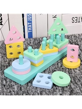 Wooden Educational Toys Wooden Shape Matching Sleeve Column Color Sorting Preschool Stacking Blocks Toddler Puzzles Toys Birthday Gifts for Boys and Girls