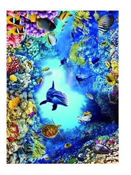 3D Dolphin Sea Print floor Murals Non-slip and Waterproof Decals Home Kids Bedroom Decor