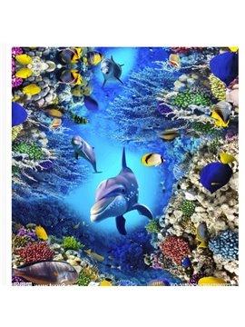 3D Dolphin Sea World Floor Murals Non Slip&Water Proof Floor Decals Home Bedroom Decor