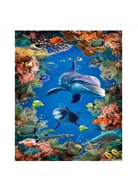 3D Ocean Scenery Floor Murals Peel and Stick Wall Stickers Wall Murals Art Wallpaper Self-Adhesive Large Wall Stickers Children's Room Wall Mural