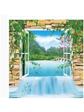 3D Window Natural Scenery Floor Murals Peel and Stick Wall Stickers Art Wallpaper Self-Adhesive Large Children's Room Decor