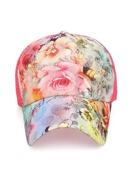 Floral Flower Print Baseball Cap Fashion Casual Adjustable Hats Summer Sun UV Protection