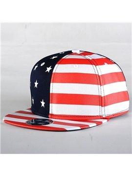 Twill Stars & Stripes USA Flag Printed Cap Hat Canvas Hat Unisex Adjustable Summer UV Protection Hip Hop Hat
