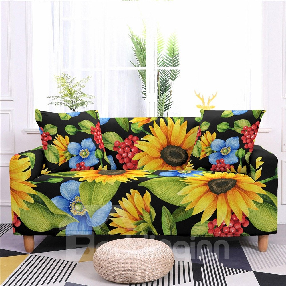 1/2/3/4 Seater Stretch Sunflower Floral Print Sofa Covers Slipcover Settee Couch Homr Furniture Protector 1/2/3/4 Seater Stretch Sunflower Floral Print Sofa Covers Slipcover Settee Couch Homr Furniture Protector