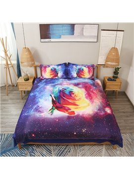 4 PCS Duvet Cover Set 3D Romantic Rose Ultra Soft Comforter Cover with Zipper Closure and Corner Ties 2 Pillowcases 1 Flat Sheet 1 Duvet Cover High-Quality Microfiber Polyester